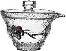 Cabilock Glas Tee Tasse mit Deckel Blume Muster