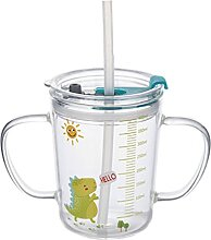 Cabilock Kinder Glas Becher Milch Tasse Stroh