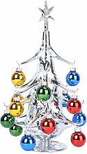 Cabilock Miniatur Glas Weihnachtsbaum mit Kugeln