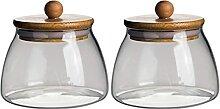 Cabilock Vorratsdose Glas mit Holzdeckel