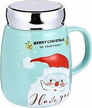 Cabilock Weihnachtsbecher mit Deckel Keramik