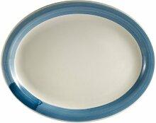 CAC Porzellan-Teller aus Steingut, oval, mit