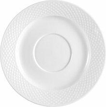 CAC Porzellan-Untertasse mit Prägung, Weiß