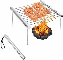 CaCaCook Tragbarer Grill Mini faltbar Edelstahl