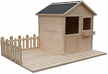 CADEMA Gartenhäuschen für Kinder - Holz Kinderspielhaus 2,4 x 1,6m