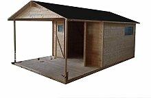 CADEMA Gartenhaus aus Holz mit Terrasse 9m2+6m2 (19mm) mit Fenstern, inkl. Fußboden, Gerätehaus
