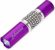 Cadenis Damen LED Taschenlampe violett mit Laser-Gravur verziert mit funkelnde Kristalle
