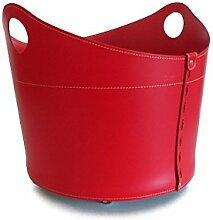 CADIN Limited Edition: Kaminholzkorb aus Leder Farbe Rot, Holzkorb, Feuerholzkorb, Brennholzkorb, Exlusivdesign aus Italien.