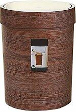 Cadrofer Mülleimer mit Schwingdeckel Abfallbehälter Abfalleimer für Küche Badezimmer Holzlook Papierkorb,braun, 8 L