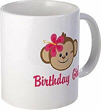 CafePress–Birthday Girl Pink Monkey–Einzigartige Kaffee Tasse, Kaffeetasse, Small weiß