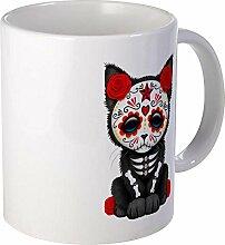 CafePress–Cute rot Day Of The Dead Kitten Cat Becher–Einzigartige Kaffee Tasse, Kaffeetasse, Teetasse, 325ml, weiß, Mega