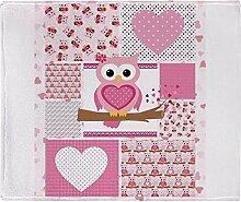 CafePress–Pink Eule Patchwork–weicher Fleece Überwurf Decke, 127x 152,4cm Stadion Decke, weiß, 50x60