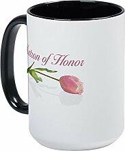 CafePress–Pink Tulip Matron of Honor–Kaffee Tasse, groß 15Oz Weiß Kaffee Tasse Large White/Black Inside