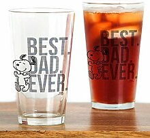 CafePress - Snoopy - Best Dad Ever Pint-Glas,