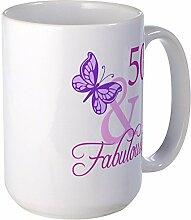 CafePress 50Fabulous Plumb Großer Becher Tasse groß–Standard mehrfarbig