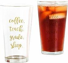 CafePress Bierglas für Kaffee, Teach, Grade,