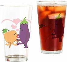 CafePress Emoji-Glas mit Aubergine und Pfirsich,
