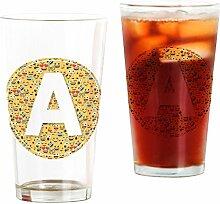 CafePress Emoji Glas mit rundem Buchstaben A Pint