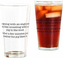 CafePress Glas arging with an Engineer durchsichtig