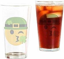CafePress Glas Kleeblatt Kiss mit Hut farblos