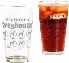 CafePress Glas mit Stubborn Windhund durchsichtig
