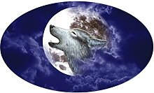CafePress Moon Wolf Oval Aufkleber Aufkleber oval,
