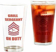CafePress Pint-Glas für BBQ Grill Sergeant farblos