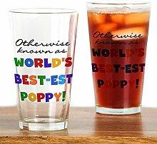 CafePress Pint-Glas mit Mohnblumen-Motiv farblos