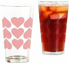 CafePress Pint-Glas mit roten Herzen durchsichtig