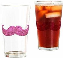 CafePress Pint-Glas mit Schnurrbart, Pink frosted