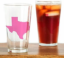 CafePress Pint-Glas mit Texas-Motiv, Pink farblos
