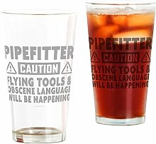 CafePress Pipefitter Vorsicht Humor Pint Glas