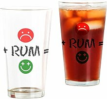 CafePress Plus Rum Equals Happy Pint-Glas farblos