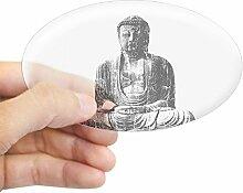 CafePress Retro Buddha Oval Aufkleber Aufkleber