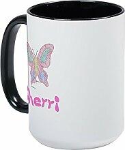 CafePress, Schmetterling, pink Sherri Großer Becher–Kaffee Tasse, groß 15Oz Weiß Kaffee Tasse Large White/Black Inside
