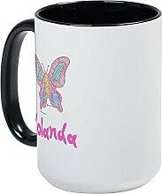 CafePress, Schmetterling, pink Yolanda–Kaffee Tasse, groß 15Oz Weiß Kaffee Tasse Large White/Black Inside