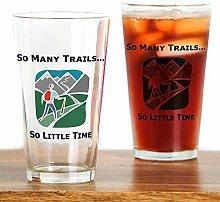 CafePress So Many Trails Pint-Glas farblos