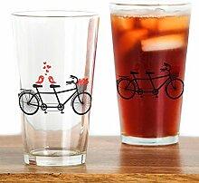 CafePress Tandem Glas mit niedlichen Vögeln