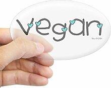 CafePress Vegan Aufkleber Aufkleber oval, farblos,