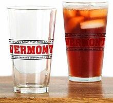 CafePress Vermont' Pint-Glas Girl farblos