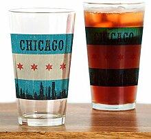 CafePress Vintage Chicago Skyline Pint-Glas farblos