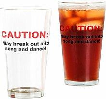 CafePress - Vorsicht: - Pint-Glas, 473 ml