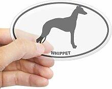 CafePress Whippet BW Aufkleber oval, farblos, 3x5