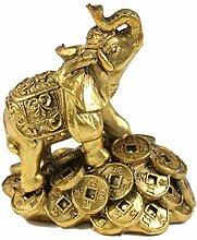 Cafolo Feng Shui Goldener Elefant auf goldenen