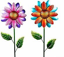CAGO Gartendeko 2erSet Metall Blume 124 cm Stecker