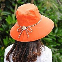 CAICOLOR Lässige Tourismus Hut Weibliche Sommer Radfahren Visier Großen Rand Sonnenschutz Zusammenklappbaren Sonnenhut (Farbe : Orange)
