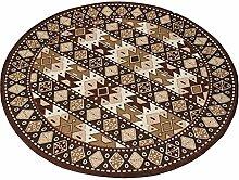 CAICOLORFUL Geometrie Kreativ Rundes Pad Einfach Mode Ländlichen Teppich Folk-Gewohnheit Computer Stuhl Kissen Wohnzimmer Rutschfest Schlafzimmer Teppich 90Cm Innen Teppich ( Farbe : 2 )