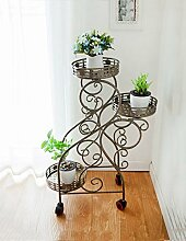 CAIJUN Blumenständer Balkon Blumentopf Rahmen Dreistöckige Pflanze Rahmen Bewegliche Eisen Blumenrahmen mit Rädern ( Farbe : A )