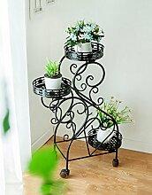 CAIJUN Blumenständer Balkon Blumentopf Rahmen Dreistöckige Pflanze Rahmen Bewegliche Eisen Blumenrahmen mit Rädern ( Farbe : B )