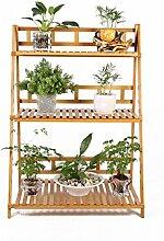 CAIJUN Blumenständer Bambus Blumentopf Regal Massivholz 3-lagig Blumenständer Wohnzimmer Einfache Boden Pflanze Stand 90 * 41 * 95cm